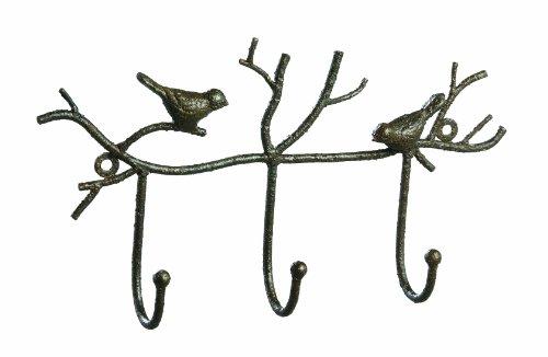 Creative Co-Op Metal Twig and Bird Wall Hooks Rust