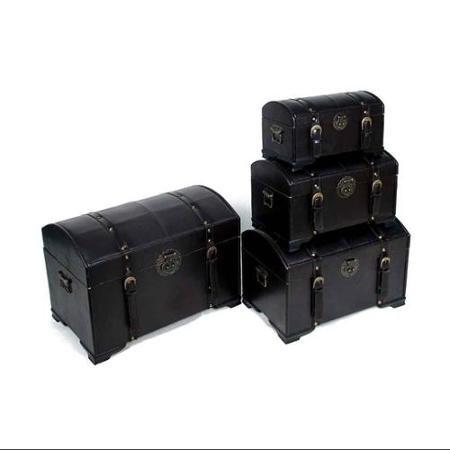 Faux Leather 4-Piece Indoor Storage Trunk Set