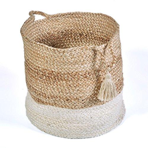 White Jute 19 x 19 x 19-inch Bottom-bleached Indoor Storage Basket