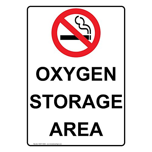 ComplianceSigns Vertical Plastic Oxygen Storage Area Sign 10 X 7 in with English Text and Symbol White