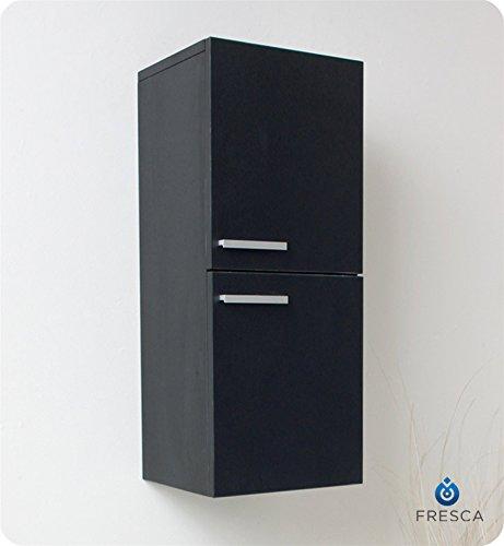 Fresca Bath FST8091BW Bathroom Linen Side Cabinet with 2 Storage Area Black