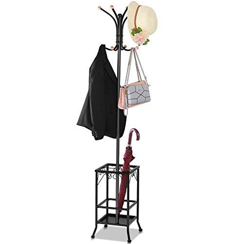 Yaheetech Retro-Style Metal Multi-purpose Coat Stand With Umbrella Storage Area Black
