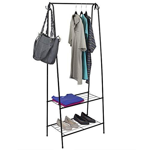 Home Basics 2 Shelf Free-Standing Heavy Duty Garment Rack with Hooks Black