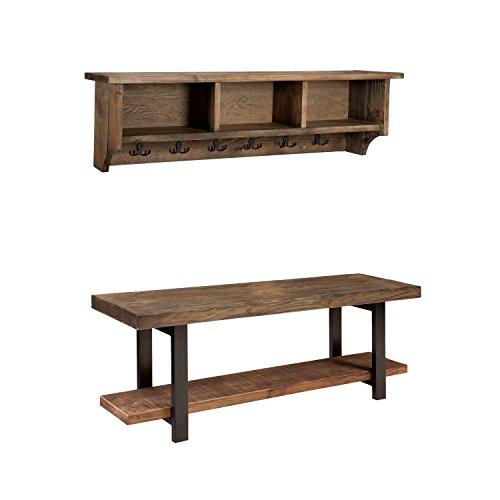 Sylvan Reclaimed Wood Storage Coat Hook and Bench Set