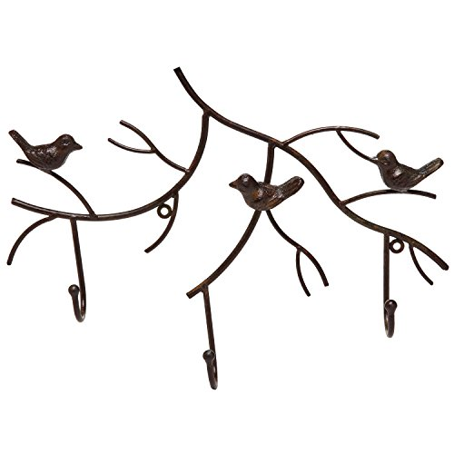 Wall Mounted Rustic Bronze Decorative Metal Tree Branch Design 3 Coat Hooks Storage Hanger Rack - MyGift