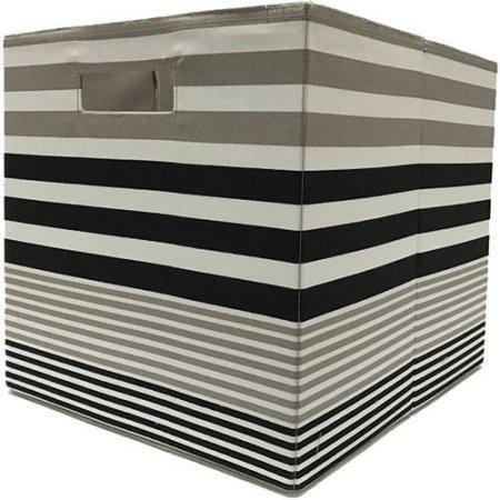 BHG Collapsible Fabric Storage Cube - Black Taupe Stripe-1 Storage bin128W x 128H x 15L 325 cm x 325 cm x 38 cm