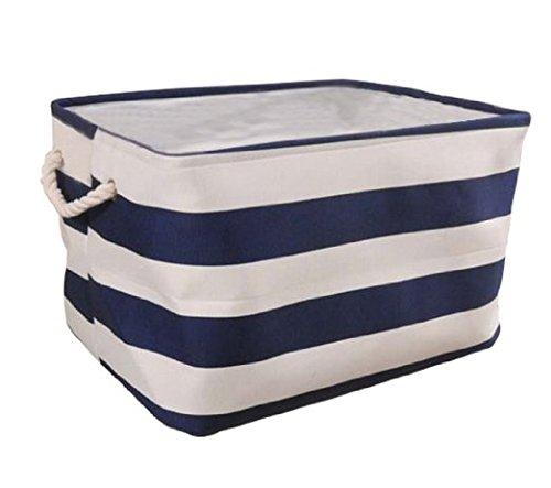 E-Livingstyle 1 pack Storage Basket Collapsible Convenient For Office Bedroom Closet Toys Laundry blue stripe XL