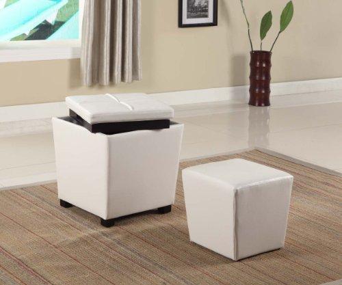 Roundhill Furniture 2-in-1 Storage Ottoman with Stool Snow White