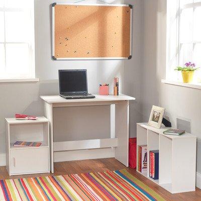 Target Marketing Systems 3 Piece Soho Study Set with 1 Writing Desk 1 3-Shelf Bookcase and 1 Storage Cube White