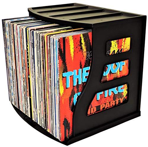 Binder Way - Vinyl Record Storage Holder Scrapbook 12x12 Paper Rack Vertical Cube Ring Binder Stand Lever Arch Shelf LP Box Desktop Organiser Holds Over 50 Albums Stackable