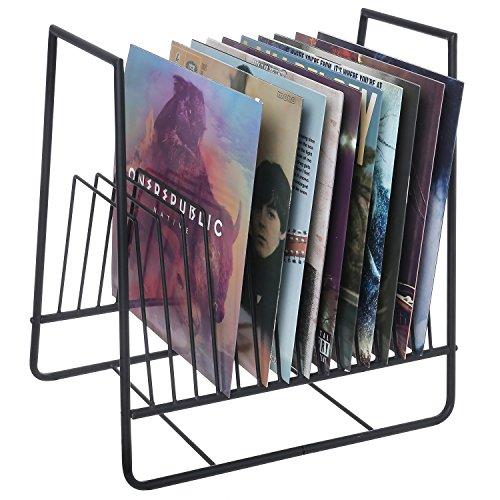 Matte Black Metal Vinyl Record Display Organizer StandMedia Storage Holder Rack with 16 Slots