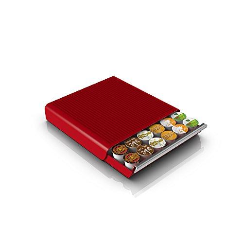 Mind Reader Hero 36 Capacity Single Serve Coffee Pod Storage Drawer Red