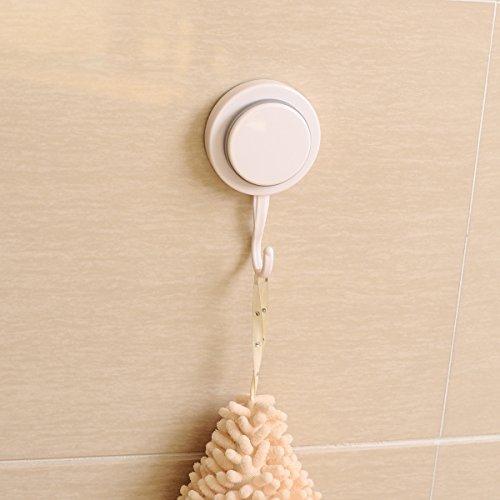 Powerful Vacuum Sucker White Wall Hooks Single Plastic Hanger Household Organization