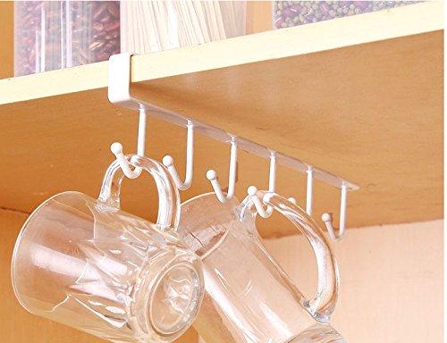 Mug HooksSandistore Coffee Mug HolderCups Wine Glasses Storage Hooks Kitchen Utensil Ties Belts and Scarf Hanging Hook Rack Holder Under Cabinet Closet Without Drilling White