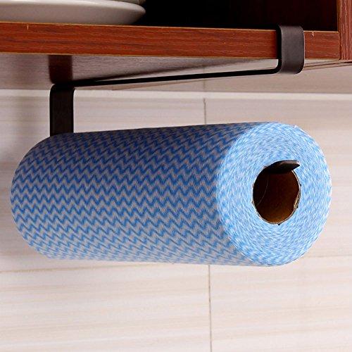RENIST Premium Steel Cabinet Door Kitchen Bathroom Paper Towel Holder Hanger White Single Bar Black