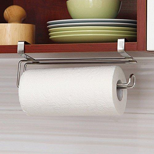 Stainless steel cabinet door hanging paper towel rack roll paper frame creative kitchen paper towel rack