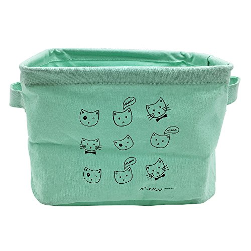 Mziart Small Fabric Storage Basket with Handle Foldable Canvas Mini Storage Bin Organizer for Nursery Kids Toys Babies Room Green Cat