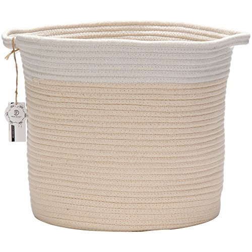 Sea Team 122H x 118D Bicolor Natural Cotton Thread Woven Rope Storage Basket Bin Hamper with Handles for Nursery Kids Room Storage Beige Nature