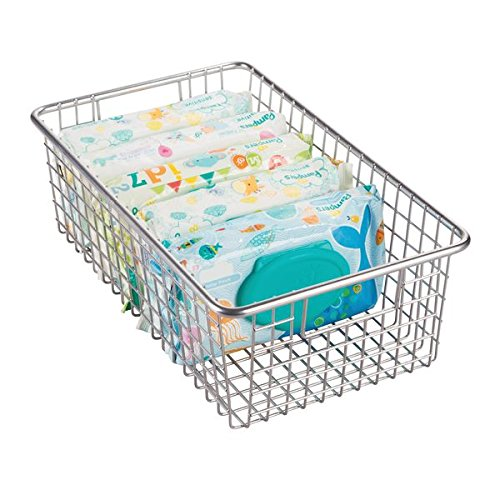 mDesign Baby Nursery Wire Storage Basket with Handles for Nursery Bedroom - Large Silver