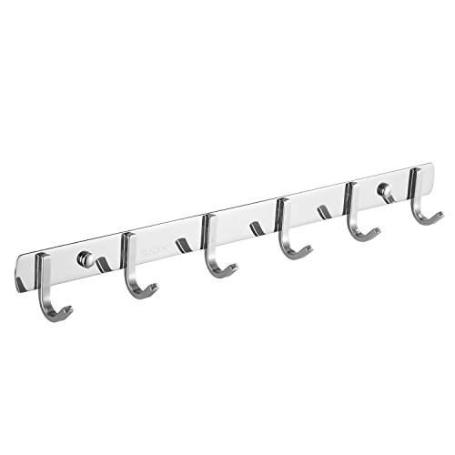 Wall Coat Rack Volla Wall Mounted Coat Rack Stainless Steel Hook Rack 6 Hooks for Clothes - 17inches