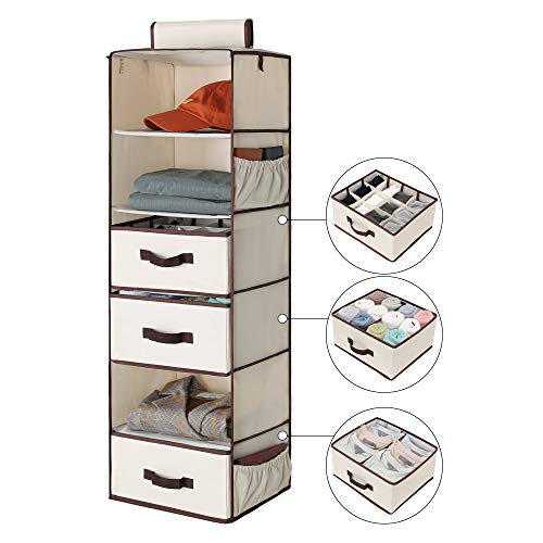 StorageWorks 6-Shelf Hanging Dresser Foldable Closet Hanging Shelves with 2 Magic Drawers 1 UnderwearSocks Drawer 425H x 136W x 122D