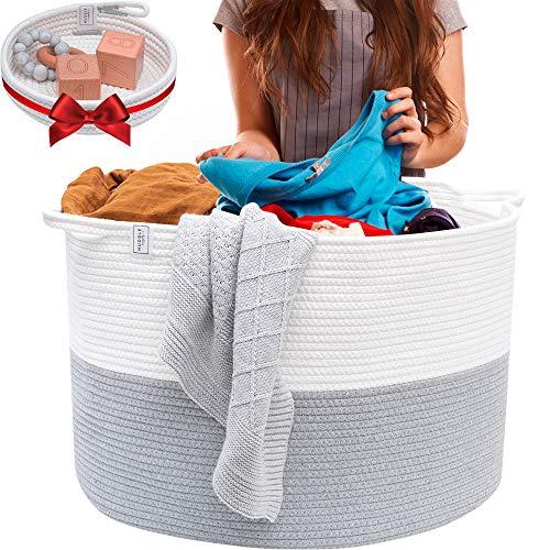 Blanket Basket Cotton Rope Basket - XXL Extra Large Woven Basket with Bonus Woven Storage Basket Tray - Woven Storage Baskets Perfect as a Toy Basket Blanket Basket Rope Laundry Basket