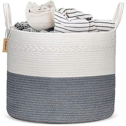 COSYLAND XXL Cotton Rope Basket 17x 17x15 Baby Laundry Woven Storage Hamper Baskets Blanket Toys Towels Nursery Bin with Handle