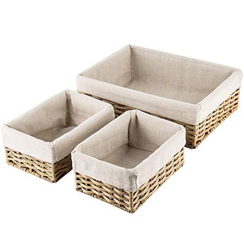 HOSROOME Handmade Wicker Storage Baskets Set Shelf Baskets Woven Decorative Home Storage Bins Decorative Baskets Organizing Baskets Nesting BasketsSet of 3Beige