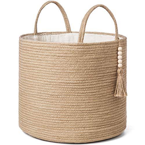 Mkono Decorative Woven Storage Basket Natural Jute Rope Basket Wooden Bead Decoration for BlanketsToysClothesShoesPlant Organizer Bin with Handles Living Room Farmhouse Home Decor16 W × 138 L