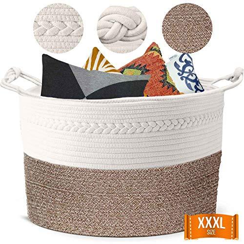 Piper and Olive Large Woven Basket - Large Baskets for Blankets - Extra Large Storage Baskets Woven - Large Blanket Basket Living Room - Cotton Rope Basket - Toy Basket - XXXL 22 x 22 x 14