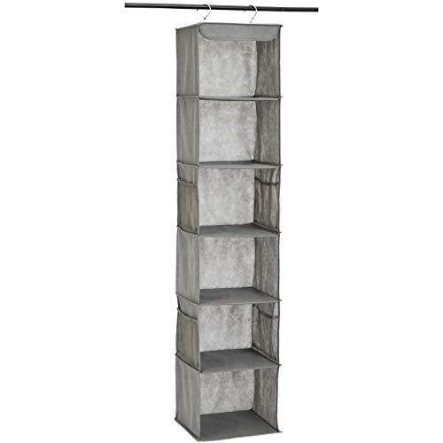 AmazonBasics 6-Tier Hanging Closet Shelf Organizer With Pockets