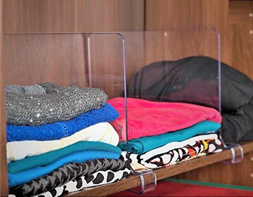 ClosetMate Beautiful 2 Pack Acrylic Shelf Dividers - Unbreakable Crystal Clear Closet Shelves Organizer Separators Perfect for Closets Kitchen Bedroom Shelving Organization
