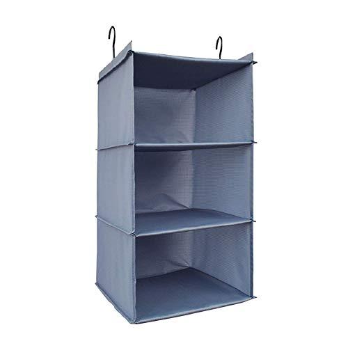 UMEXUS 3 Shelves Foldable Hanging Closet Organizer Hanging Shoe Organizer Oxford Cloth with 2 Metal HooksGrey-3 Shelf