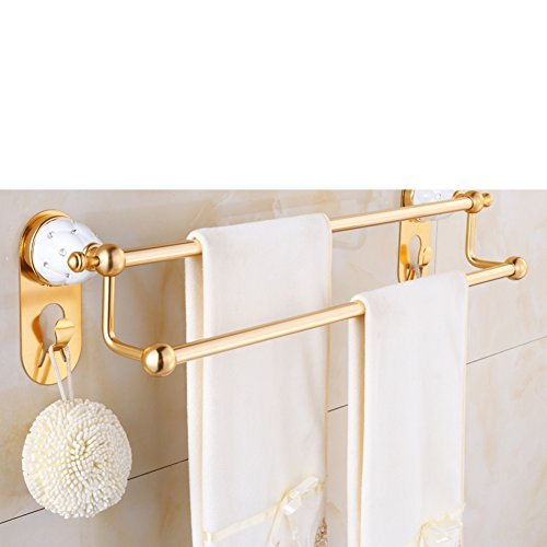 European style Towel rackDouble pole towel rackSpace aluminum bathroom accessoriesMetal-bathroomshelfwall mounted rack-B
