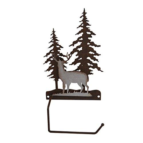 Pine Ridge Deer Scene - Metal Toilet Paper Roll Holder - Western Decorative Wall Mount Tissue Holder For Toilet and Bathroom