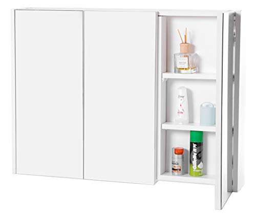 Basicwise QI003456 3 Shelves White Wall Mounted BathroomPowder Room Mirrored Door Vanity Cabinet Medicine Chest