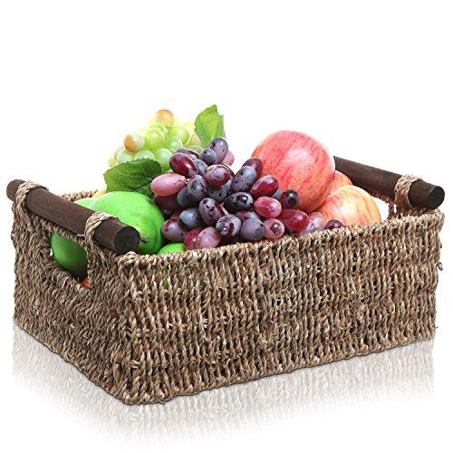 Beige Hand Woven Seagrass Open Top Home Storage Shelf Basket  Organizer Bin with Double Pole Handles