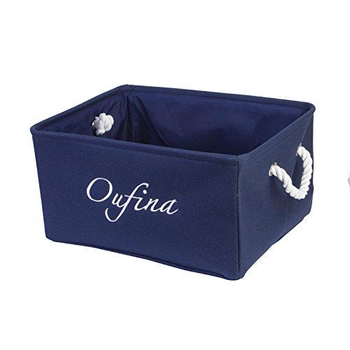 Home Bins with Handles Foldable Home Storage Shelf Baskets Car Organizer Burlap Blue