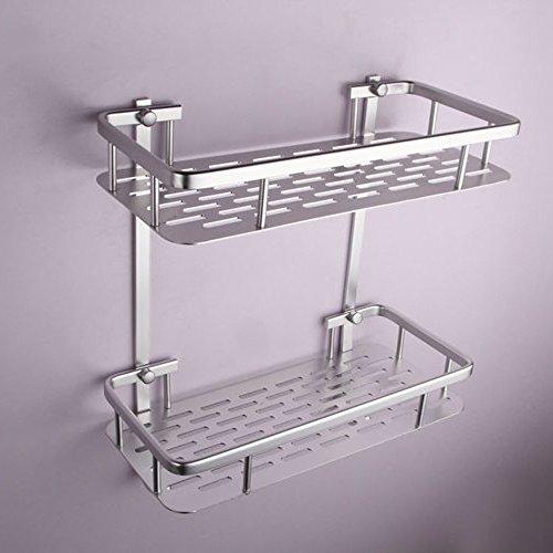 Onkuey Bathroom Aluminum Storage Shelf Basket with Hooks Wall Mounted Shower Caddy Towel Bar Rectangular 2-Tier