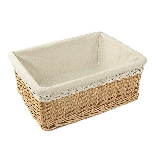 RURALITY Rectangular Willow Wicker Storage Shelf Basket with Liner Large