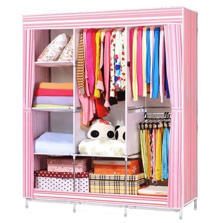 Pink 6870 Portable Garment Closet Large Wardrobe Garment Hanger Clothes Closet Organizer Storage Rack w Shelves Bedroom Furniture