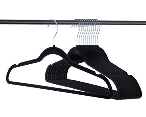 Premium Quality Thin Velvet Hangers - 50 Pack - Black - Heavy Duty Non Slip Black Suit Hangers Swivel Ultra Thin
