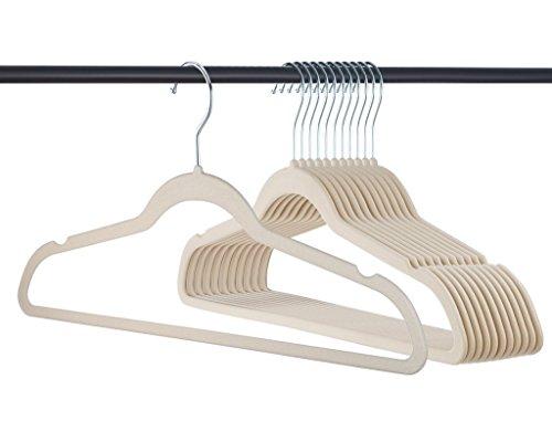 Premium Quality Thin Velvet Hangers - 50 Pack - Ivory - Heavy Duty Non Slip Suit Hangers Swivel Ultra Thin