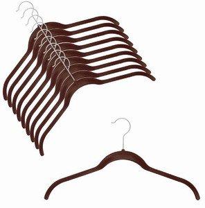 ULTRA-SLIM VELVET SHIRT HANGERS - SET OF 100 - CHOCOLATE BROWN
