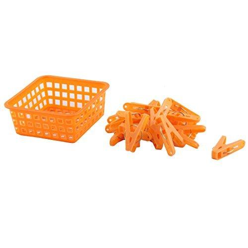 DealMux Home Clothes Hanging Pegs Clothespins Hanger Clips 20pcs Orange w Storage Basket