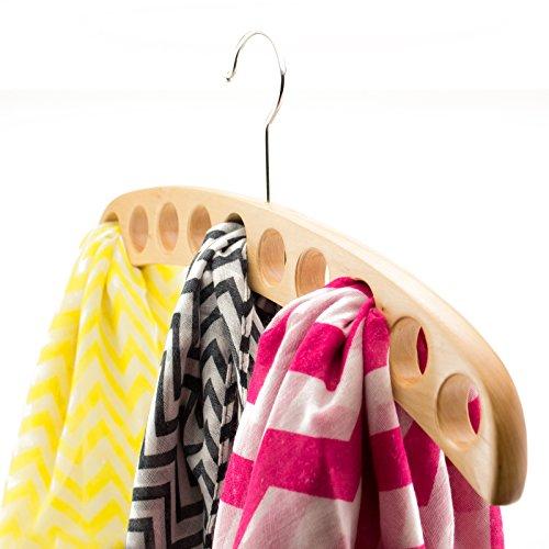 Adorox 10-hole Natural Hard Wood Finish Scarf Belt Tie Accessory Closet Hanger Organizer Light Brown 2 Hangers