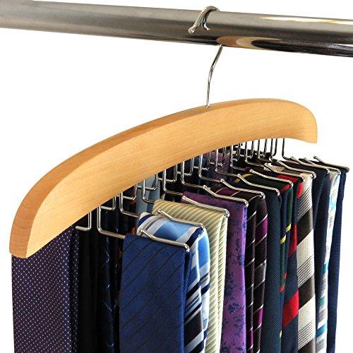 Hangerworld Premium Wooden Tie Hanger Rack Organizer - Holds 24 Ties - Display Box for Lovely Gift