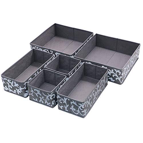 Onlyeasy Set of 6 Foldable Cloth Storage Box Closet Dresser Drawer Divider Organizer Bins Cube Basket for Bras Socks Underwear Ties Scarves Grey Classic MNCLCB6P