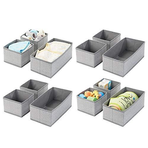 mDesign Soft Fabric Dresser Drawer and Closet Storage Organizer for KidsToddler Room Nursery Playroom Bedroom - Herringbone Print - Organizing Bins in 2 Sizes - Set of 12 - Gray