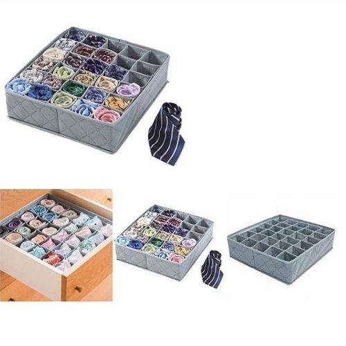 Bamboo Charcoal Folding 30 Cell Slots Underwear Socks Storage Organizer Divider Box